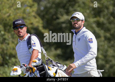 Southport, Merseyside, UK. 16th July 2017. Adam Hadwin Bright sunshine for the 1st day of practice at the British - Stock Photo