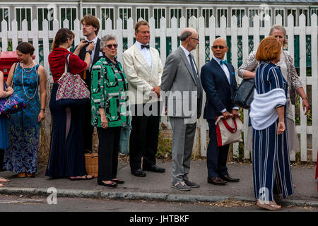 Lewes, UK.  16 July 2017 Television personality and former MP Michael Portillo arrives at Lewes Station enroute - Stock Photo