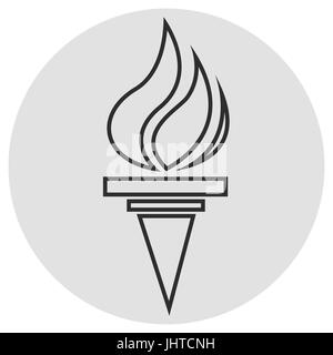 Burning torch line icon. Vector simple icon on dark grey grey background. Designed for web or mobile - Stock Photo