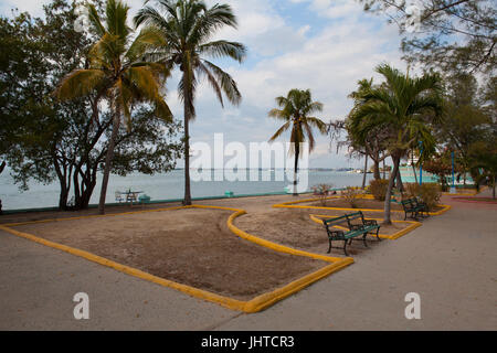Empty public park  in Cienfuegoes at sunset, Cuba - Stock Photo