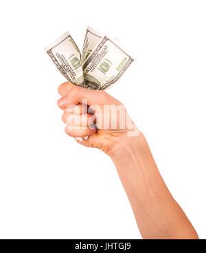 hand holding crumpled dollar bills isolated on white background - Stock Photo