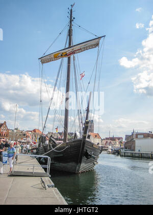 A replika of a medieval ship in Wismar Germany - Stock Photo