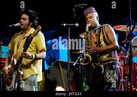 Angelo Moore Fishbone (r) Fat Mike NOFX perform Vans Warped Tour 15th Anniversary Celebration Club Nokia September - Stock Photo