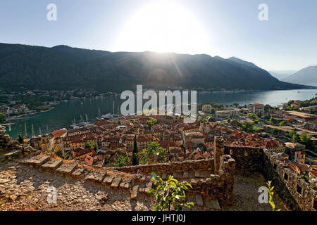 Top view on old town Kotor, Montenegro. Travel destination concept. - Stock Photo