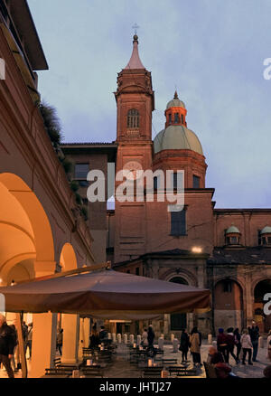 Night falls on the piazza, Bologna, Italy, spring, 2017. - Stock Photo