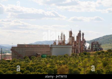 Refinery. Puertollano, Ciudad Real province, Castilla La Mancha, Spain. - Stock Photo