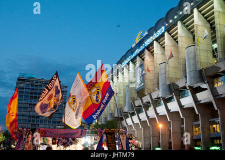 Atmosphere before the Real Madrid-Barcelona football match. Santiago Bernabeu stadium, Madrid, Spain. - Stock Photo