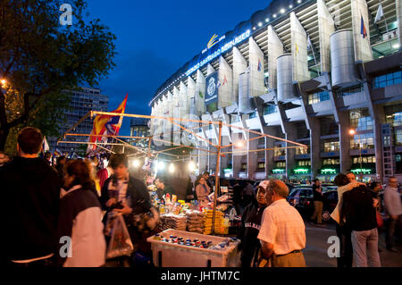 Street vending around the Santiago Bernabeu stadium before the Real Madrid-Barcelona football match. Madrid, Spain. - Stock Photo