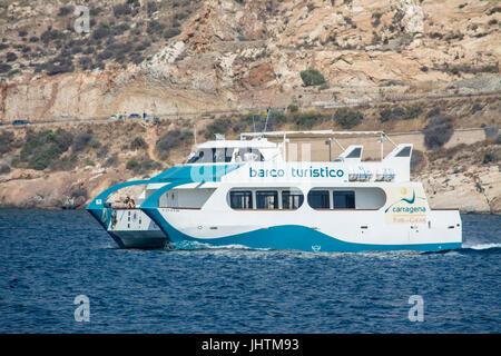 Barco turistico tourist boat on the mediteranian sea at Cartagena in Murcia Spain - Stock Photo