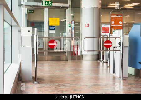 PRAGUE, CZECH REPUBLIC - JUNE 16, 2017: Empty gateway terminal in waiting area in airport - Stock Photo