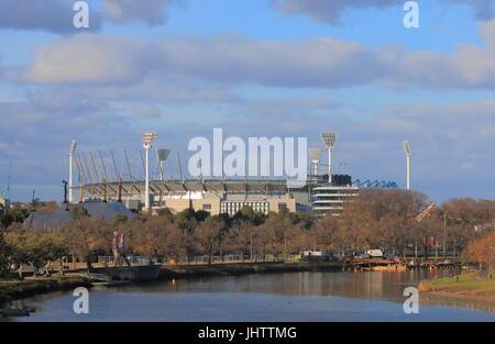 Melbourne Cricket Ground  along Yarra river in Melbourne Australia - Stock Photo