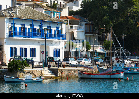 View of the harbour in Skopelos town, Greece. - Stock Photo