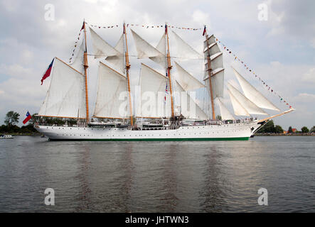 Port of Amsterdam, Noord-Holland, the Netherlands - August 19 ,2015 : Tall ship the Esmeralda from chili i during - Stock Photo