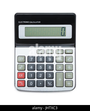 Top View Of Grey Calculator Isolated on White Background. - Stock Photo