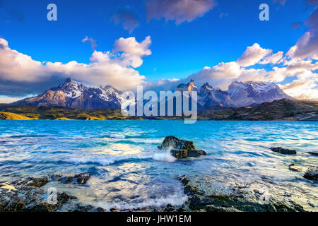 Torres del Paine over the Pehoe lake, Patagonia, Chile - Southern Patagonian Ice Field, Magellanes Region of South - Stock Photo