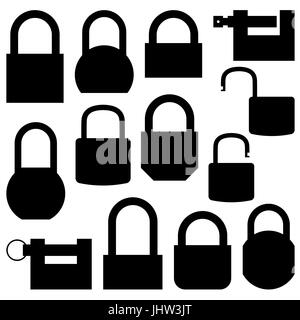 Set black icons lock of different shapes, isolated on white background. Flat style, vector illustration. - Stock Photo