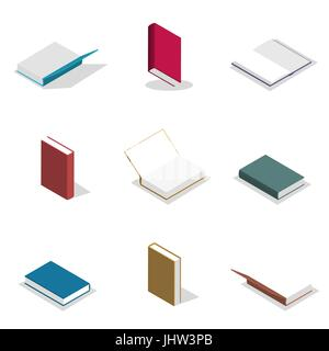 Set of icons, collection of various books isolated on white background. Elements design of printed materials. Flat - Stock Photo