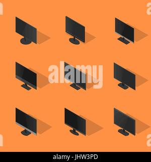 Set of icons, collection of various computer monitors, isolated on yellow background. Element design of digital - Stock Photo