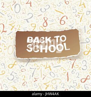Back to school on chaotic numbers seamless pattern. Vector, EPS10 - Stock Photo
