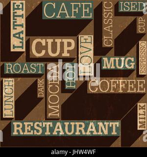 Coffee themed seamless retro background, vector - Stock Photo