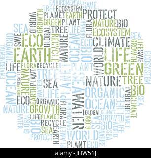 Ecology Earth concept word collage. Environmental poster design tempolate. Vector illustration, EPS8. - Stock Photo