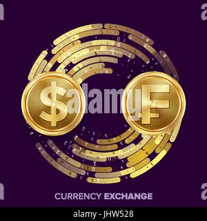 Money Currency Exchange Vector. Dollar, Franc. Golden Coins With Digital Stream. Conversion Commercial Operation - Stock Photo