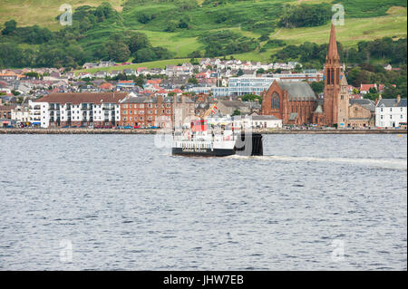 Largs, Scotland - August 17, 2011: A Caledonian MacBrayne ferry. The ferry travels between Largs on the Scottish - Stock Photo