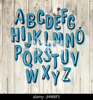 Hand-drawn Alphabet on Wooden Background - Stock Photo