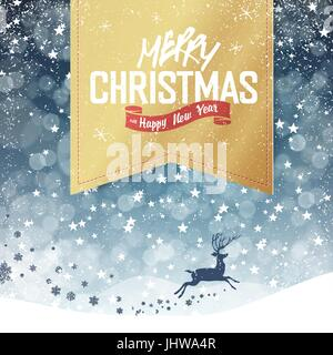 Merry Christmas Vintage Background. Falling Snow and Golden Badge with Greeting and Christmas deer. All layers separated - Stock Photo