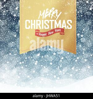 Merry Christmas Vintage Background. Falling Snow and Golden Badge with Greeting. All layers separated and can be - Stock Photo