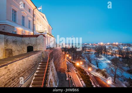 Tallinn, Estonia. Building Of Government Of Republic Of Estonia, Old Stone Staircase And Cityscape At Winter Evening - Stock Photo