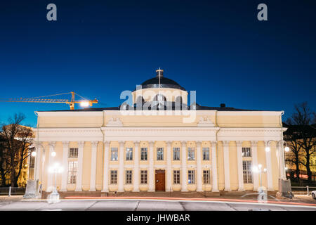 Helsinki, Finland. The National Library Of Finland In Lighting At Evening Or Night Illumination. Administratively - Stock Photo
