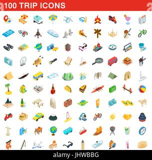 100 trip icons set, isometric 3d style - Stock Photo