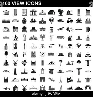 100 view icons set, simple style - Stock Photo