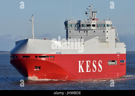 Isar Highway river Elbe outbound near Brunsbüttel - Stock Photo