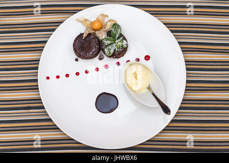 Warm dessert chocolate cake - Stock Photo