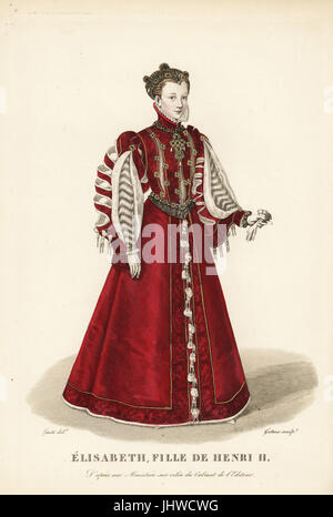 Elisabeth of Valois, wife of King Philip II of Spain, daughter of King Henry II of France, 1545-1568. She wears - Stock Photo
