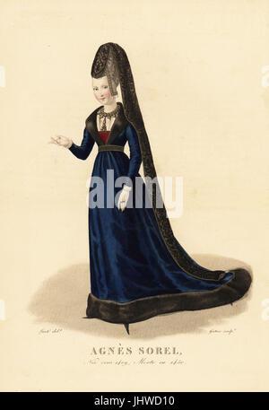 Agnes Sorel, Dame de beaute, mistress of King Charles VII of France, 1409-1450. She wears a tall brocade bonnet - Stock Photo