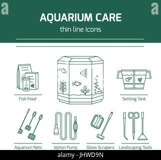 Thin line vector icons - aquarium care tools - Stock Photo