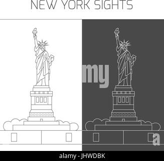 New York sights. Statue of Liberty - Stock Photo