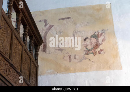 Restored medieval wall painting on the walls of St Winfreds Church, Branscombe, Devon, - Stock Photo