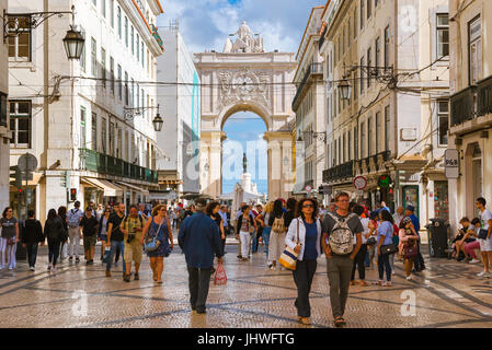 Lisbon city centre, view of the Rua Augusta - the main thoroughfare in the historical centre of Lisbon, Portugal. - Stock Photo