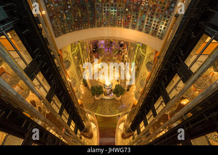 View of the elevator shafts, lobby and staircases in the cruise ship Navigator of the Seas (Royal Carribean International), - Stock Photo