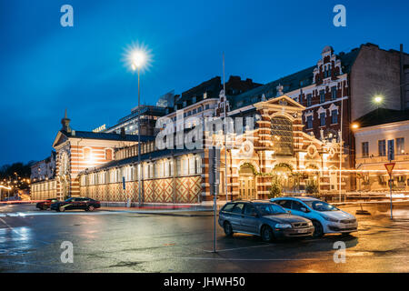 Helsinki, Finland - December 9, 2016: Old Market Hall Vanha Kauppahalli In City Center In Lighting At Evening Or - Stock Photo