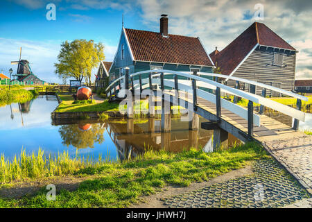 The best touristic village Zaanse Schans with colorful houses and old traditional windmills on the water canals, - Stock Photo