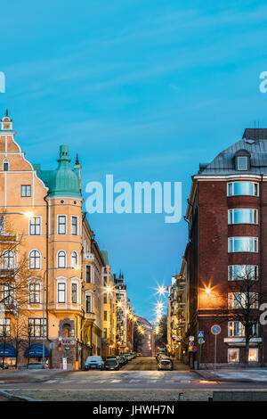 Helsinki, Finland - December 11, 2016: Residential House Building At Intersection Of Merikatu, Neitsytpolku And - Stock Photo