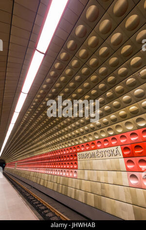 Inside the futuristic Staromestska subway station in Prague, Czech Republic. - Stock Photo