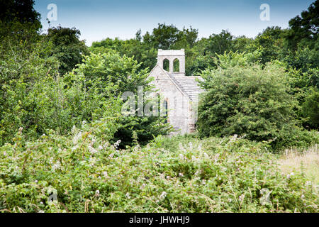 Tyneham Village, near Wareham, Dorset. Part of the Purbecks. Evacuated in 1943 and remains deserted. Church and - Stock Photo