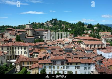 The skyline of the Citta Alta (upper city) facing west from the Civic Tower, Bergamo, Lombardy, northern Italy, - Stock Photo