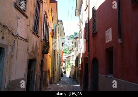 A typical backstreet, Citta Alta (upper city), Bergamo, Lombardy, northern Italy, July 2017 - Stock Photo